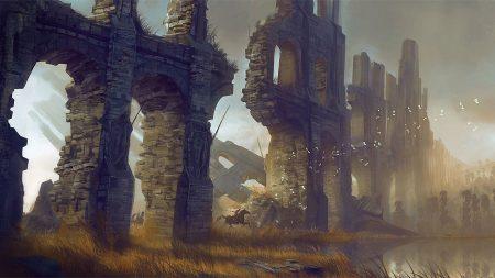 wall, ruins, riders