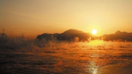 water, fog, morning