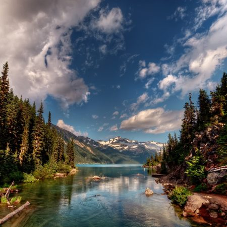 water, mountains, trees