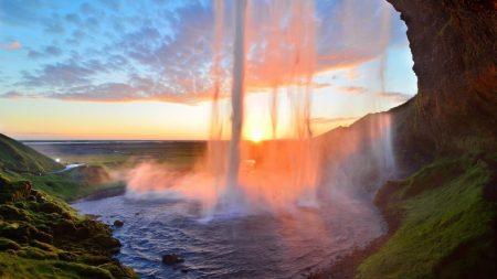 waterfall, lake, summer