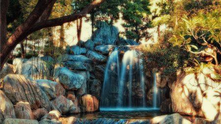 waterfall, rocks, water