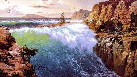 waterfalls, cliffs, wind
