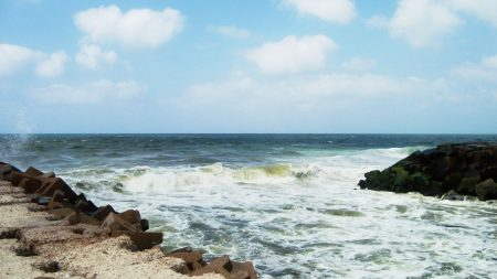 waves, coast, stones