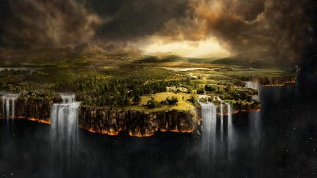 weightlessness, land, waterfall