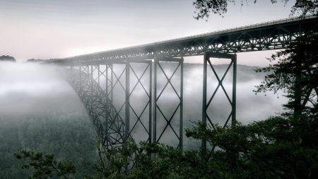 west virginia, bridge, fog