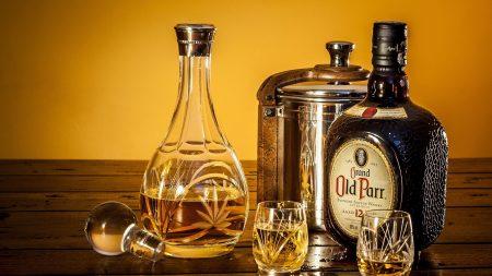 whiskey, wine glasses, bottle