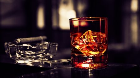 whisky, ice, cigar