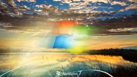 windows 7, clouds, sunset