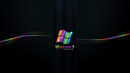 windows 7, rainbow, black
