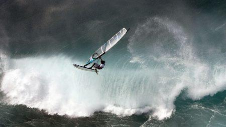 windsurfing, wave, water