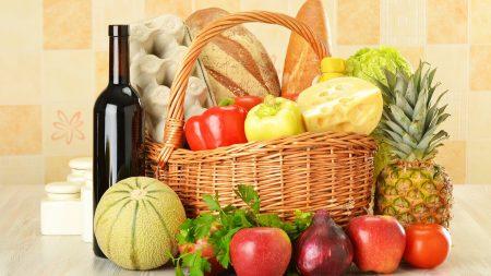 wine, basket, fruit