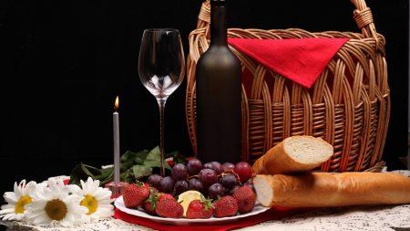 wine glass, fruit, flowers