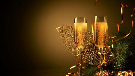 wine glasses, champagne, branch