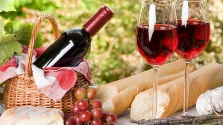 wine, picnic, grapes