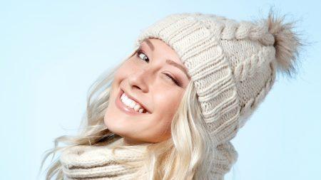 winter, blonde, wink