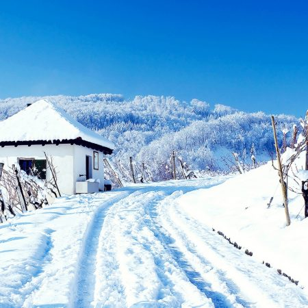 winter, house, road