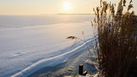 winter, lake, snow