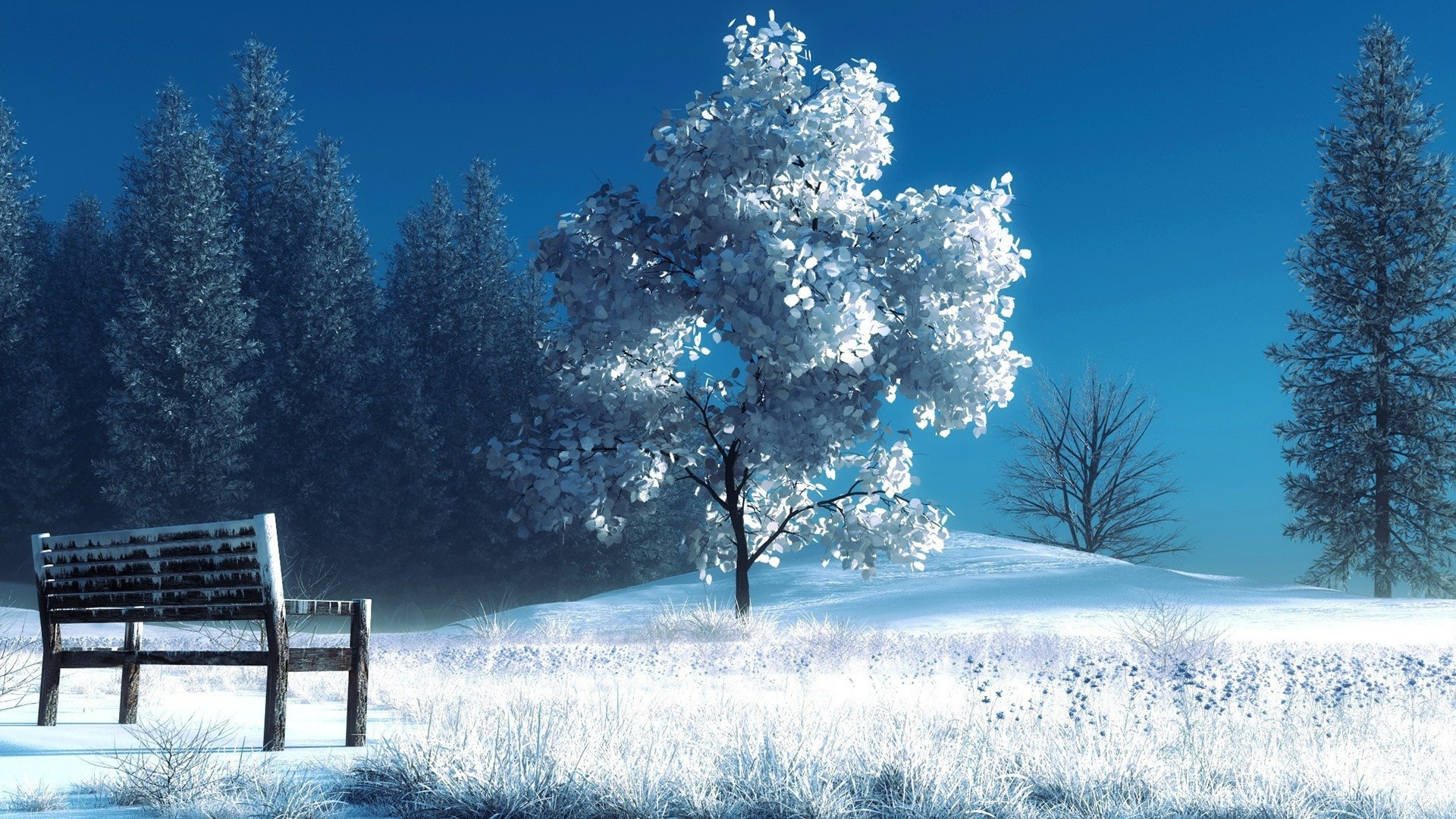 Download Wallpaper 1920x1080 Winter Landscape Nature Snow Bench Trees Full Hd 1080p Hd Background