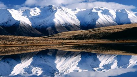 winter, mountains, reflection