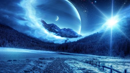 winter, night, mountains