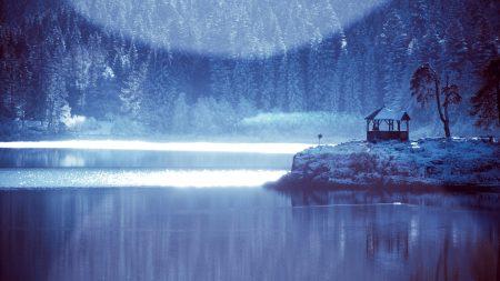 winter, pond, light