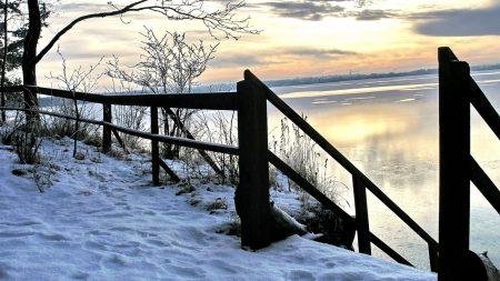 winter, river, descent