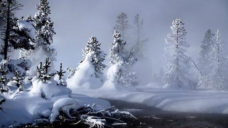 winter, river, evaporation