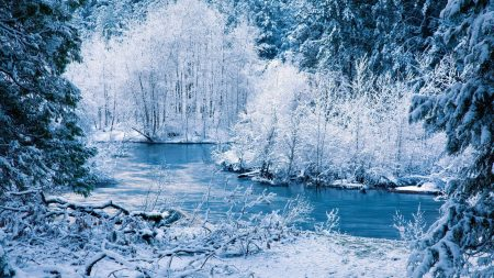 winter, river, snow