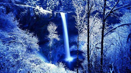 winter, rock, falls