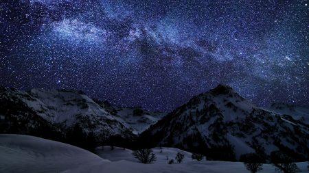 winter, sky, stars