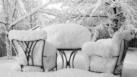 winter, snow, chairs