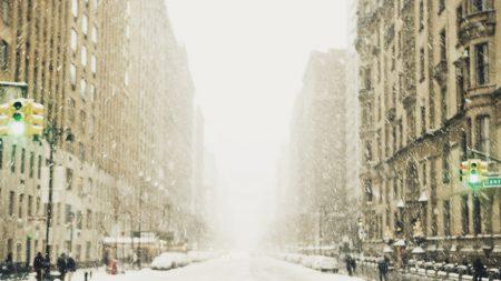winter, snow, city