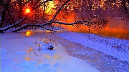 winter, sunset, evening