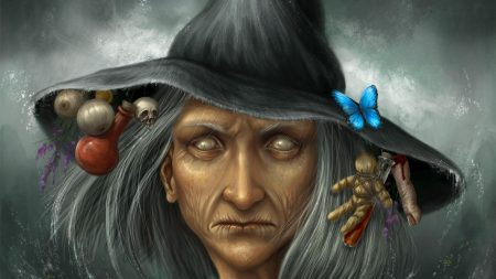 witch, hat, face