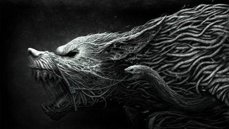 wolf, teeth, drawing