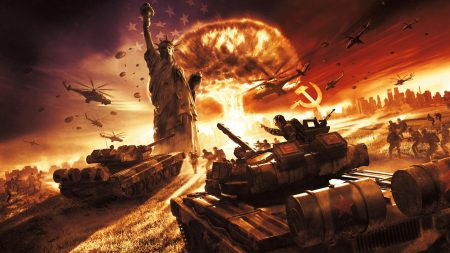 world in conflict, explosion, statue of liberty