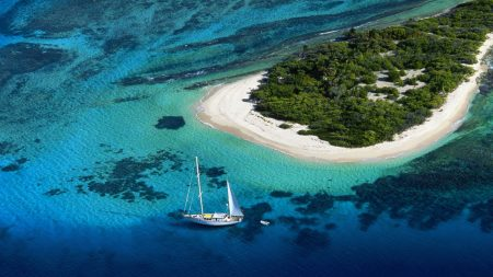 yacht, island, beach