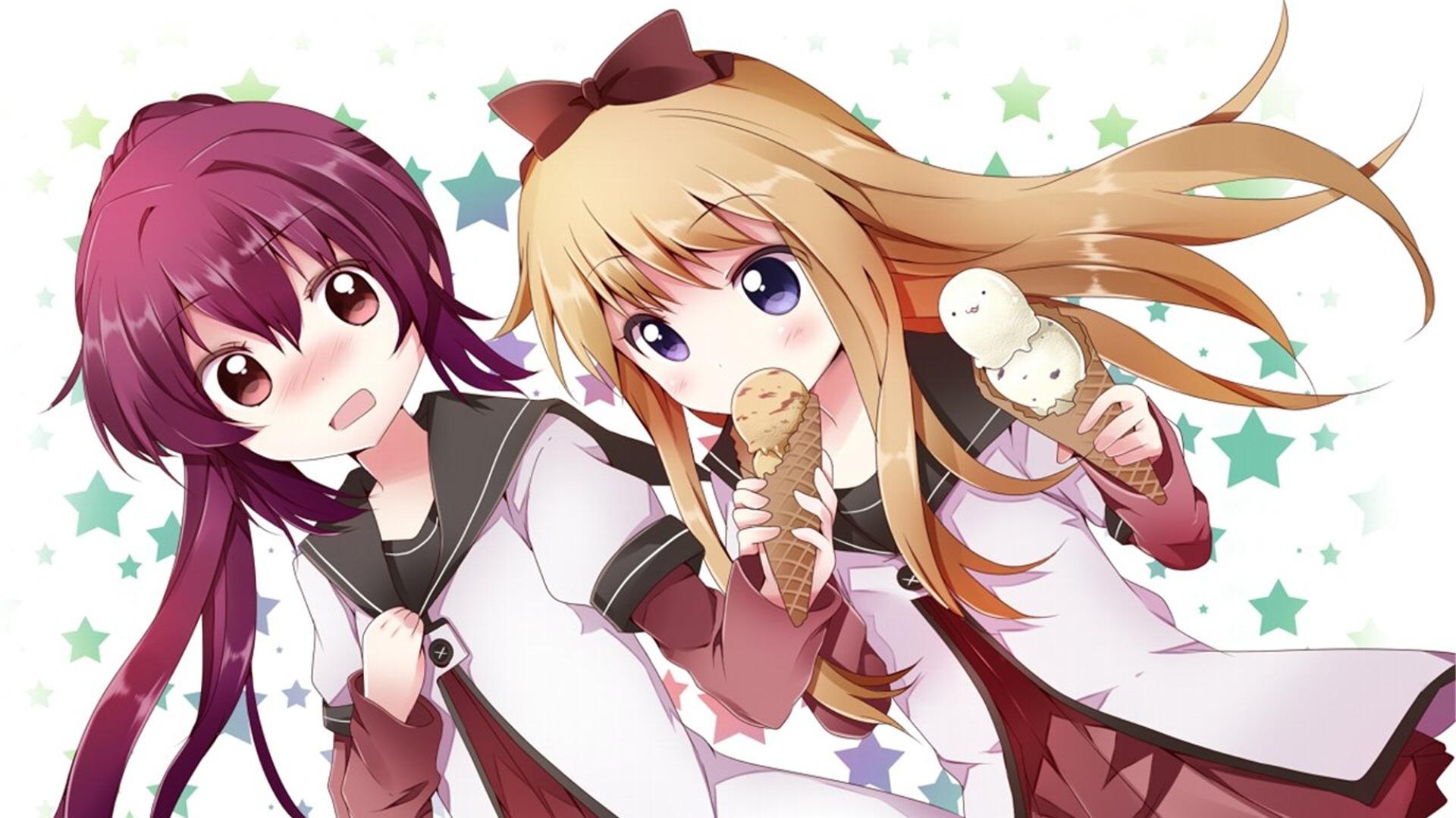 yuru yuri, girls, ice cream